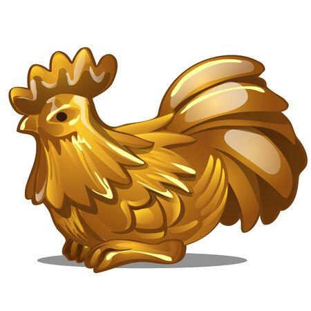 Gouden figuur van haan. Chinees horoscoopsymbool. Kalender van 12 dieren. Oosterse astrologie. Sculptuur geïsoleerd op een witte achtergrond. Vector illustratie
