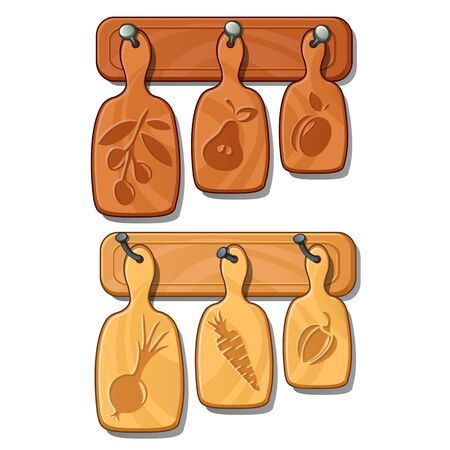 Cutting boards on nails. Kitchen wooden implements with images of fruits and vegetables. Collection of utensils. Vector Illustration in cartoon style isolated on white background Stock Photo