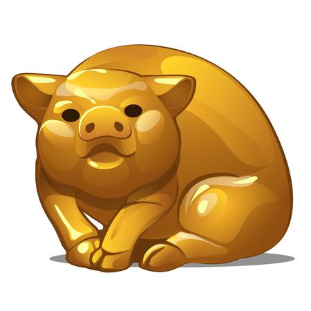 Gouden figuur van varken. Chinees horoscoopsymbool. Kalender van 12 dieren. Oosterse astrologie. Sculptuur geïsoleerd op een witte achtergrond. Vector illustratie