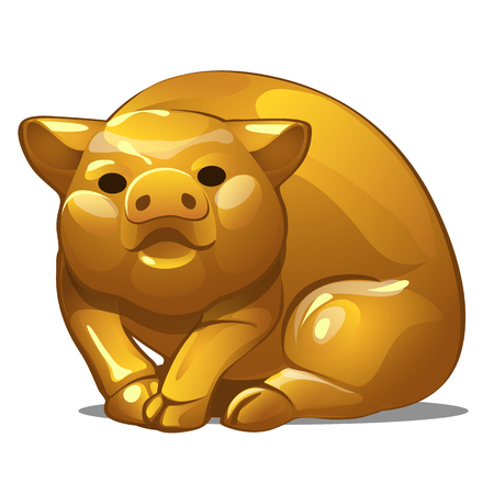 Golden figure of pig. Chinese horoscope symbol. Calendar of 12 animals. Eastern astrology. Sculpture isolated on white background. Vector illustration Stock Photo