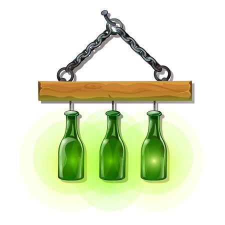 Set of bottles lanterns on hanger. Original luminous objects, interior decoration elements. Vector Illustration in cartoon style isolated on white background
