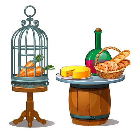 Carrots in cage and wine, bread and cheese. Food on the table and a wooden barrel. Vector Illustration in cartoon style isolated on white background Vectores