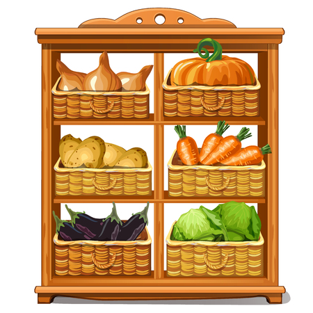 Wooden cabinet with baskets and vegetables. Product storage after seasonal harvesting. Vector food. Illustration in cartoon style isolated on white background