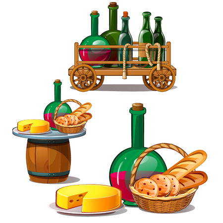 Set of wine bottles, cheese, bread,. Delicious food on barrel, in wooden trolley and wicker basket. Vector Illustration in cartoon style isolated on white background