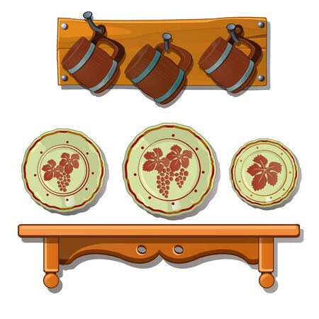 Set of old plates and mugs on shelves. Vintage dishes hung on the walls. Kitchen utensils, tableware concept. Vector Illustration in cartoon style isolated on white background