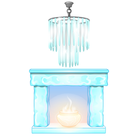 Chandelier and fireplace with flame of ice. Decorative frozen interior elements. Vector Illustration in cartoon style isolated on white background Standard-Bild - 90222904