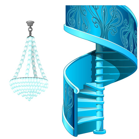 Classic ice spiral staircase and crystal chandelier. Decorative frozen interior elements. Vector Illustration in cartoon style isolated on white background