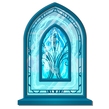 Window of ice in old style with ornament. Stained glass frosted. Decorative frozen interior elements. Vector Illustration in cartoon style isolated on white background