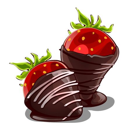 Strawberry dessert in chocolate. Delicious romantic surprise for lovers. Vector illustration in cartoon style isolated on white background
