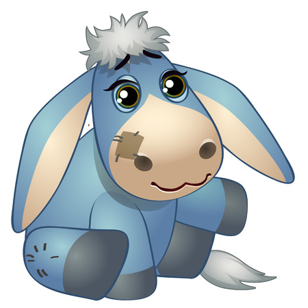 Cute donkey - old childrens stuffed toy with patch. Vector illustration in cartoon style isolated on white Stok Fotoğraf