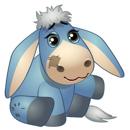 Lindo burro - viejo juguete de peluche con parche. Ilustración de vector en estilo de dibujos animados aislado en blanco Foto de archivo - 90304801