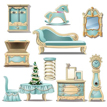 よれよれのシックな家具、グッズ、クリスマス ツリー。室内装飾。漫画のスタイルの白い背景で隔離のベクトル図