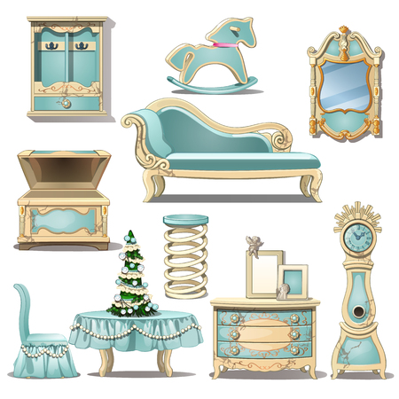 Shabby chic furniture, toy and Christmas tree. Interior decoration. Vector Illustration in cartoon style isolated on white background