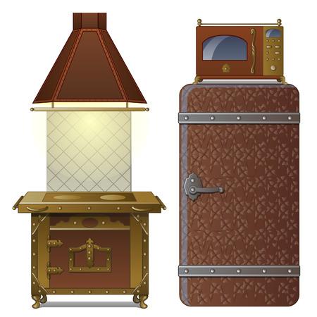 キッチン用品のセット。室内にはストーブ、オーブン、抽出器、冷蔵庫、電子レンジが付いています。漫画風に描かれたイメージ。