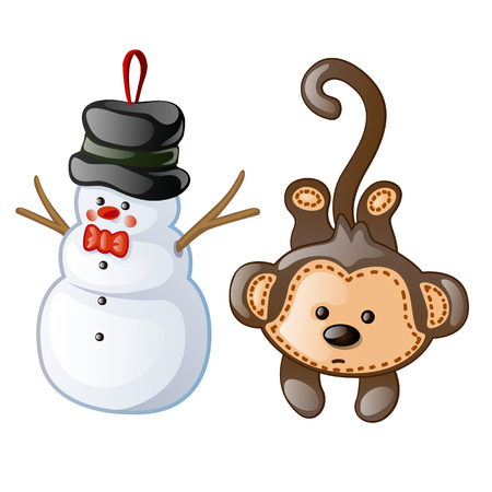 Christmas toys as figurine snowman and monkey. Christmas toys for festive mood and merry x-mas celebrations. Vector illustration in cartoon style on white background. Image isolated