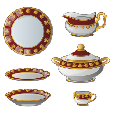 Ancient decorative set of dishes. Collection of plates, tureens, cups and a jug for cream. Vector illustration isolated on white background Vectores