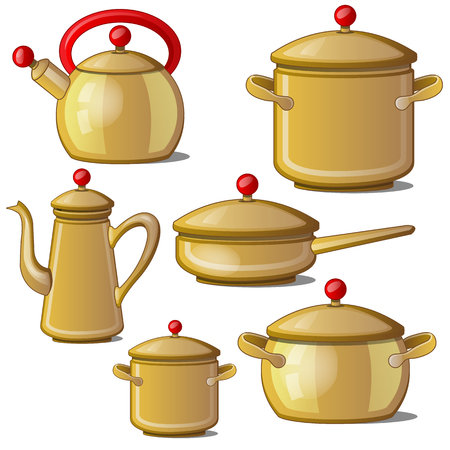Modern set of dishes. Collection of kettle, pan, cups and a jug. Vector illustration isolated on white background