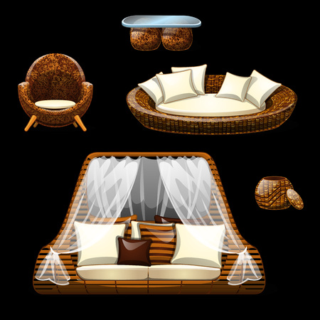 Set of wicker furniture on black background. in cartoon. Collection of two original sofas, armchair, puff and table. Vector illustration of original interior 일러스트