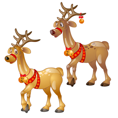 Cartoon figures of Christmas deer isolated
