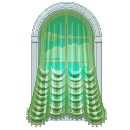 Old fashioned window draped with green curtain. Antique glass with beautiful outdoor view of sky and clouds. Home interior elements. Image in cartoon style. Vector illustration, isolated on white. 일러스트