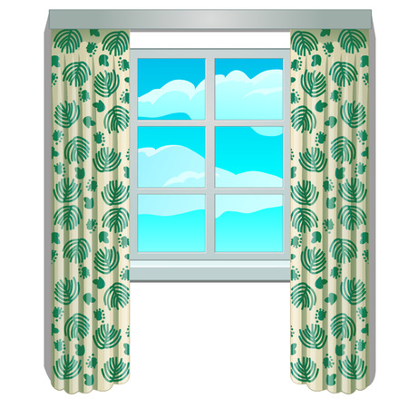Classic window and view of sky and clouds in frame with beige curtains with floral ornament. Home interior elements. Image in cartoon style. Vector illustration, isolated on white background. Иллюстрация