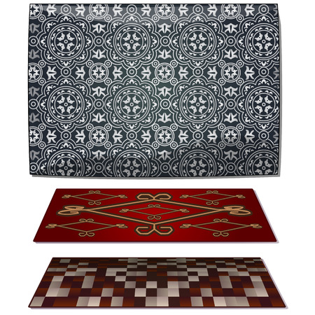 Set of three carpets, gray and red vector  illustration.