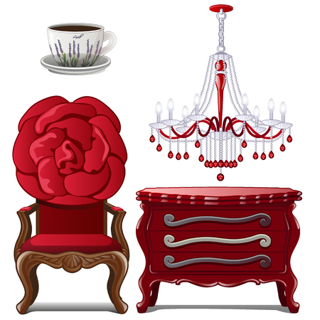 Antique furniture and decoration. Home interior elements. Image in cartoon style. Vector illustration, isolated on white background. Иллюстрация