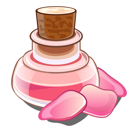 Bottle with pink liquid, wooden cap and petals. Glass flacon with perfume or magic potion and roses. Illustration