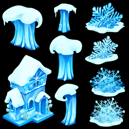 Set of ice figurines isolated on black background. Blue wave images at different stages, snowflakes and house. Vector illustration in cartoon style