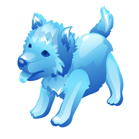 Stylized dog cub figure made of ice, cartoon, isolated. Blue image of mythical animal for decoration. Image in cartoon style for games and other design needs. Vector illustration isolated on white
