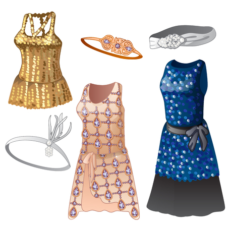Set of women dresses and belts. Collection of classic clothes for girls, different colors, with sparkles. Image in cartoon style. Vector illustration isolated