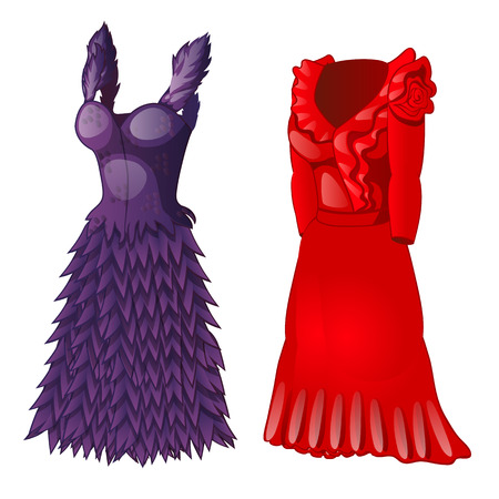 Set of two dresses, purple and red. Wardrobe of woman of fashion, classic collection. Image in cartoon style. Vector illustration isolated on white background