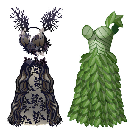 Two elegant dresses in form of wood and leaves on eco-friendly theme. Wardrobe of woman. Image in cartoon style. Vector illustration isolated on white background Illustration