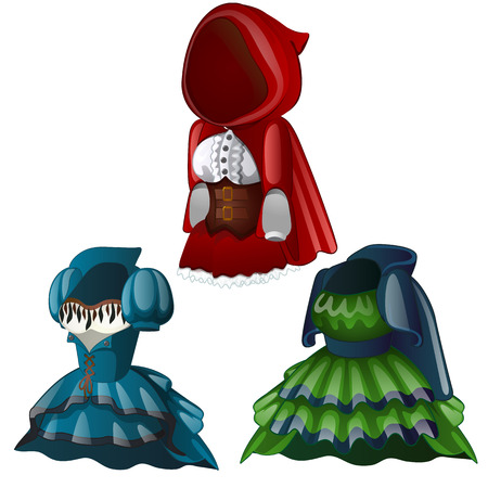 Set of three ancient dresses with hood,. Collection of clothes for girl, including corset and raincoat. Wardrobe of woman. Image in cartoon style. Vector illustration isolated on white background Illustration