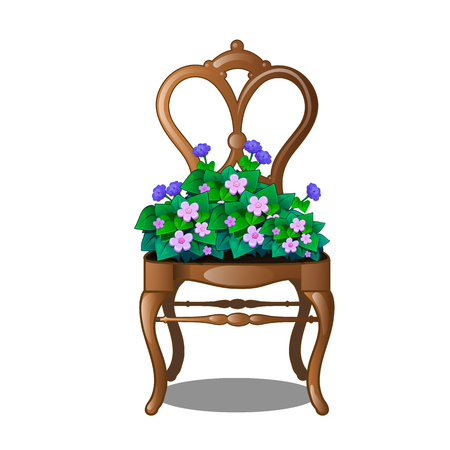 Vintage wooden chair with flowers. Vector illustration.