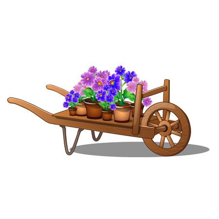 Carrello in legno con fiori in vaso isolati su sfondo bianco. Primo piano dell'illustrazione di vettore del fumetto.