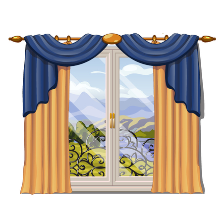 The window overlooking the sunny meadow of green grass in summer isolated on white background. Interior design luxury country house. A lovely day. Vector close-up cartoon illustration. Illustration