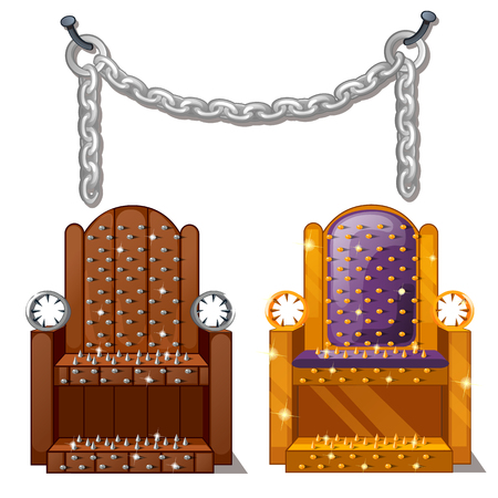Ancient instruments of torture. Wooden chair with spikes and steel chains isolated on white background. Vector illustration.