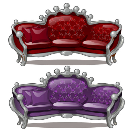 Two Royal sofa isolated on a white background. Cartoon vector close-up illustration.