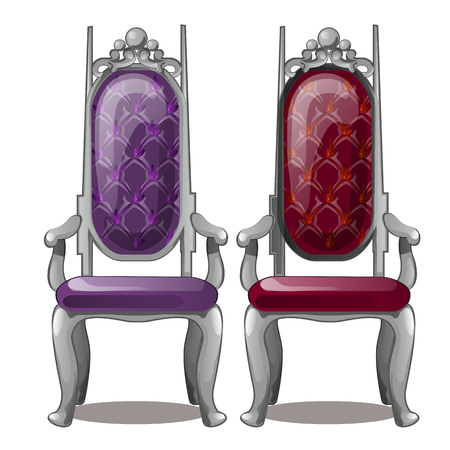 Two of the Royal throne isolated on white background. Vintage interior. Vector cartoon close-up illustration.