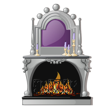 Vintage fireplace and a purple candle in a candlestick isolated on a white background. Vector cartoon close-up illustration. Illustration