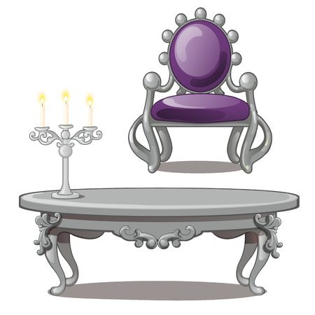Vintage table with candle and chair isolated on a white background. Vector illustration.