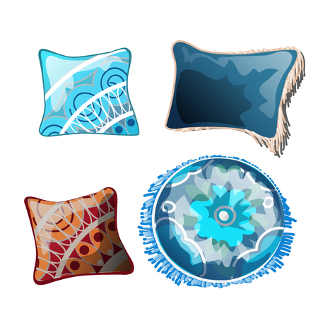 Set of cushions for the interior. Vector illustration.