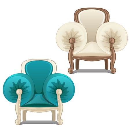 Two chairs with soft armrests. Vector illustration. 일러스트