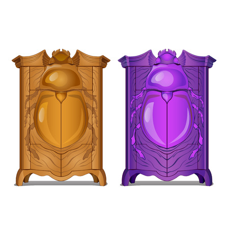 A set of cabinets with carved facade with the image of a beetle. Vector cartoon close-up illustration.