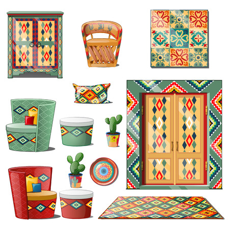 Set interior Mexican style isolated on white background. Vector illustration. Illustration