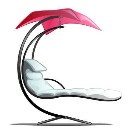 Luxury floating swing hammock isolated on white background. Vector cartoon close-up illustration.