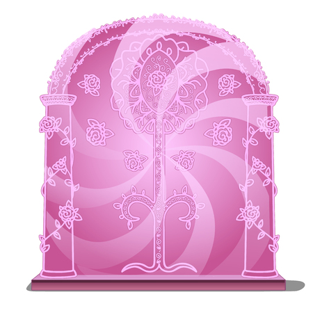 Pink portal isolated on white background. Vector illustration.