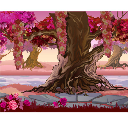 Fairy forest with pink trees. Fantasy nature. Vector illustration.