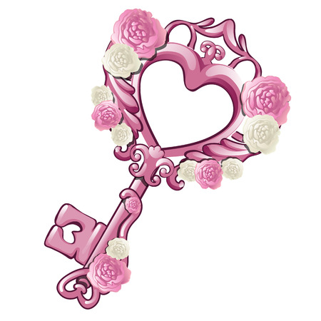 Beautiful vintage key in the shape of a pink heart decorated with patterns and flowers isolated on white background. Gift for loved on Valentine s day or wedding. Cartoon vector illustration close-up.